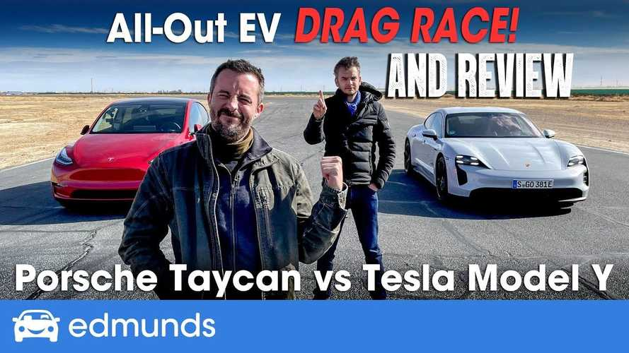 Tesla Model Y Challenges Porsche Taycan In Epic Drag Race