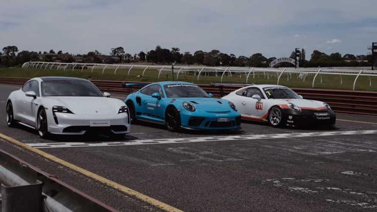 Porsche Taycan Porsche 911 GT3 RS Porsche 911 GT3 Cup drag race