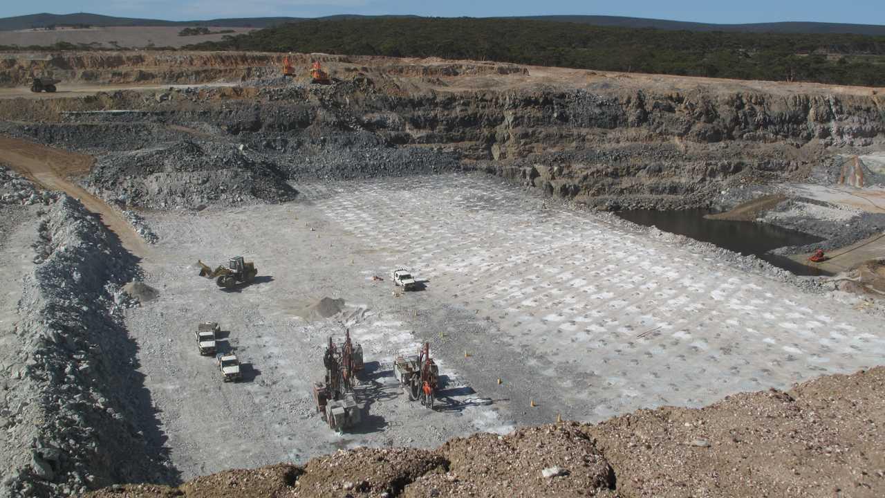 Galaxy Mining Lithium and Spodumene drilling holes for explosives in Ravensthorpe Western Australia