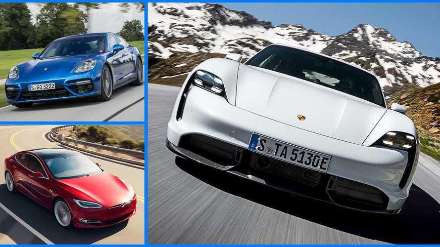 Porsche Taycan im Vergleich mit Porsche Panamera und Tesla Model S