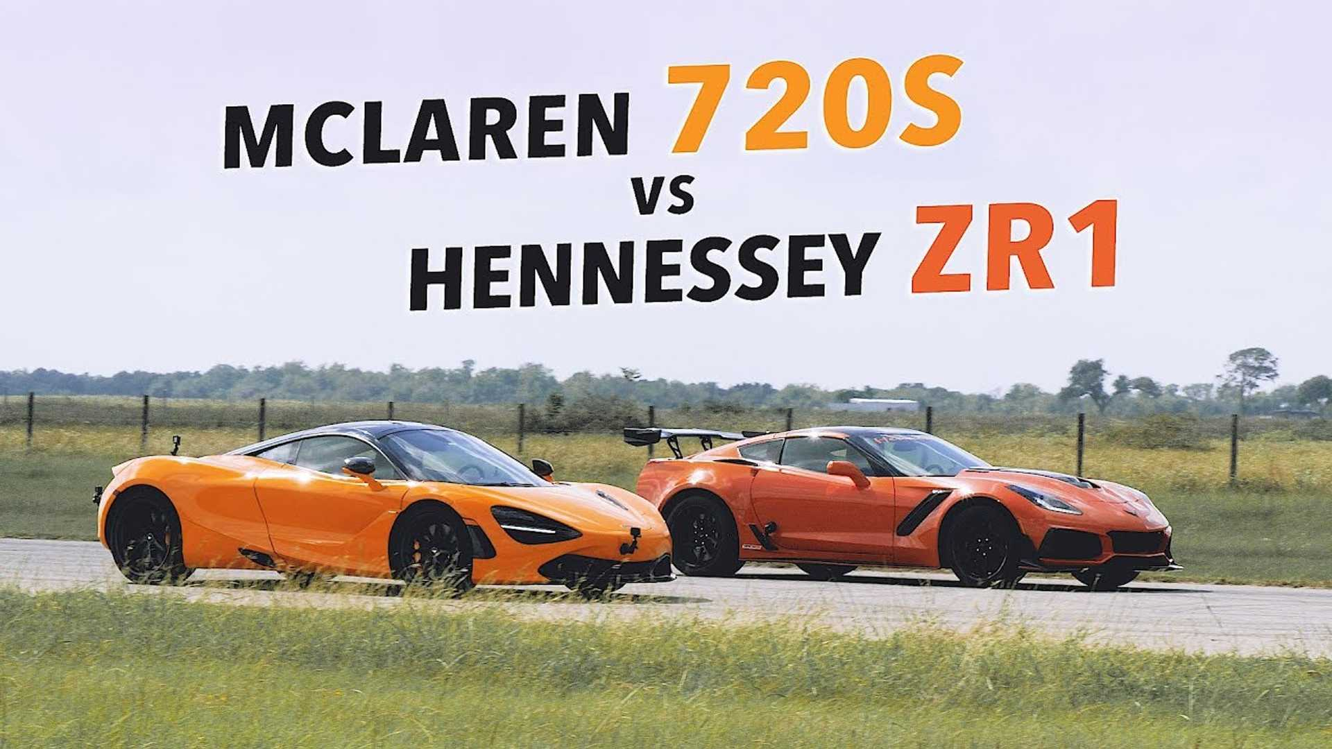 Tuned Hennessey Chevy Corvette ZR1 Fights McLaren 720S In Roll Races