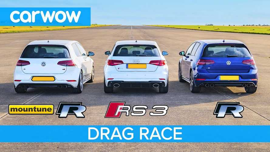 VW Golf R by Mountune drag races stock Golf R, Audi RS3