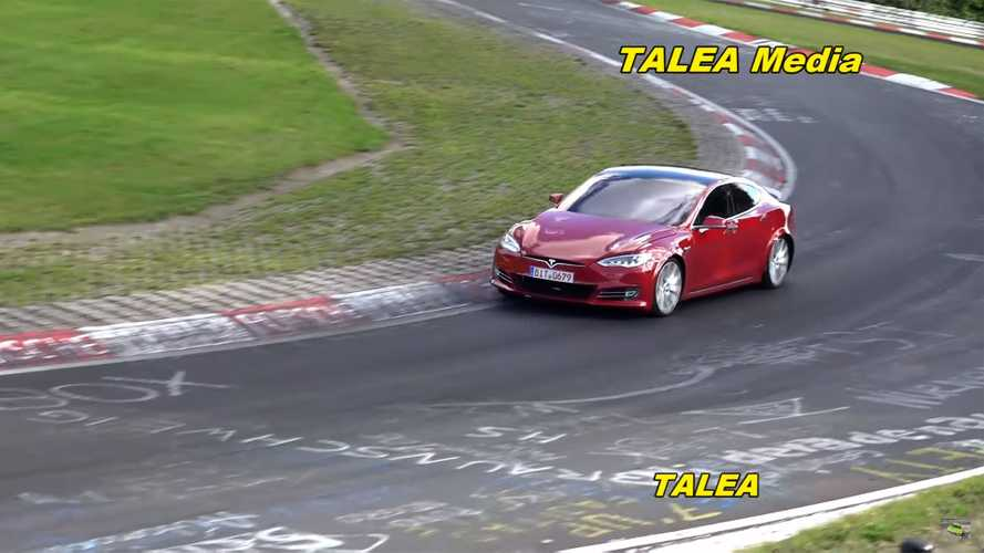 Watch Tesla Model S Plaid prototype share Nurburgring with Porsche Taycan