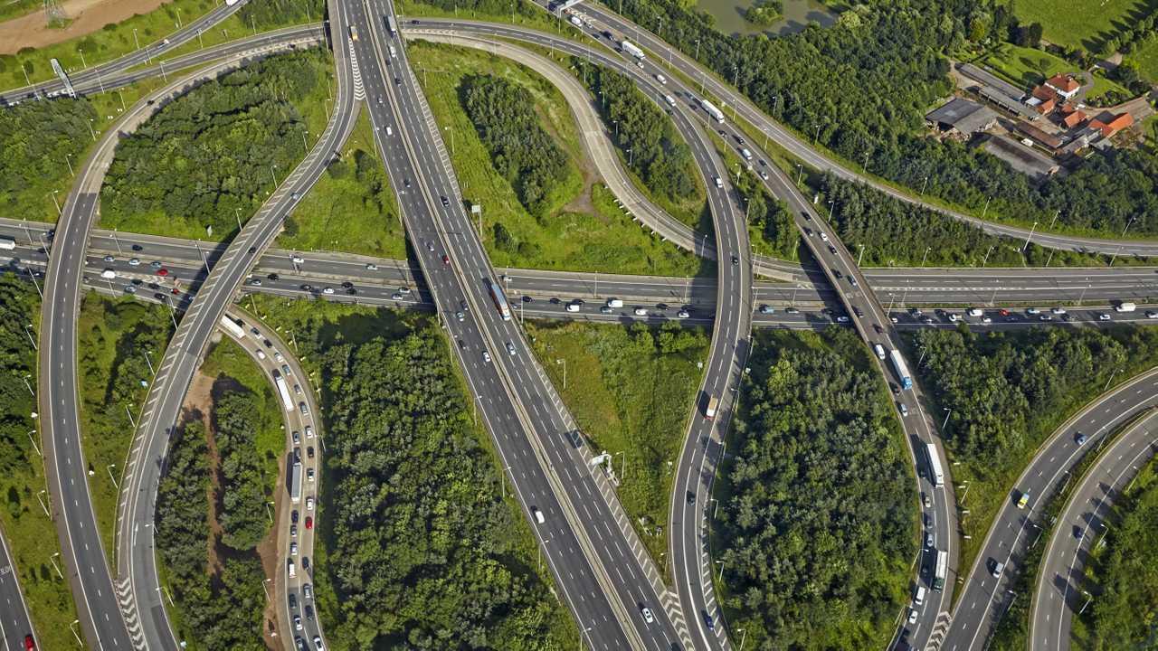 Aerial view of traffic jam at  interchange M11 and M25 London orbital