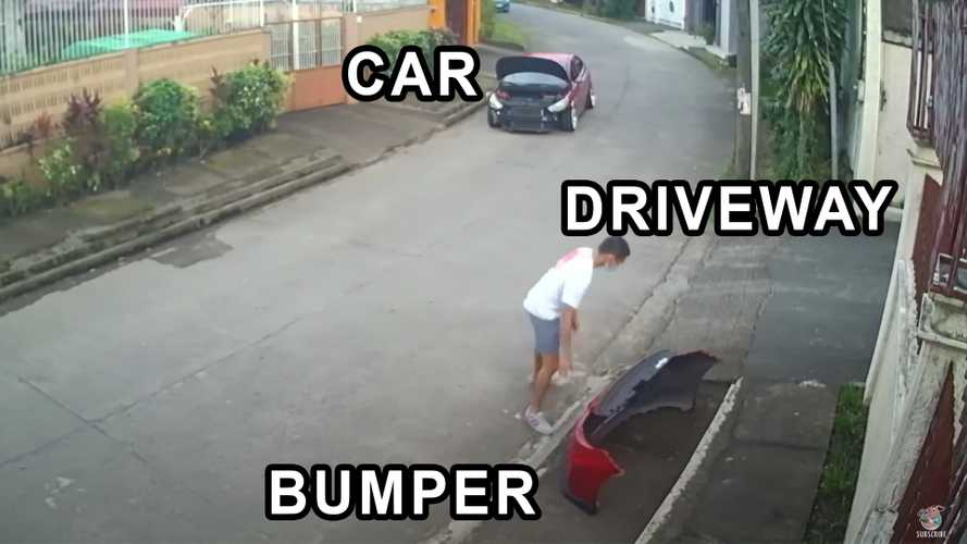 Bumper on, bumper off: Bloke shows incessant dedication to his car