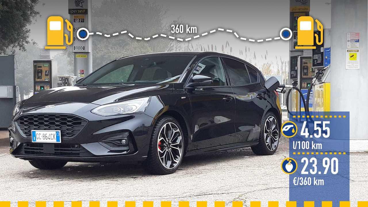 Ford Focus mild hybrid, la prova consumi