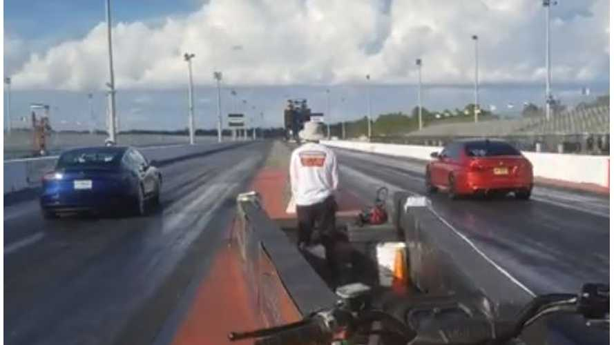 Watch Tesla Model 3 Take On BMW M5 F10 In Drag Race: Video
