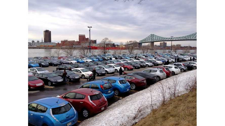 Electric Vehicle Gathering Sets World Record With 431 EVs In Montreal