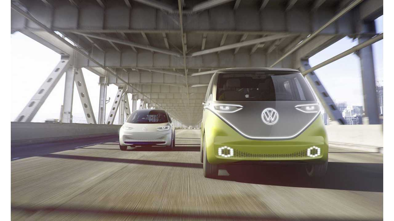 The VW ID Hatchback (seen at left) arrives in 2020, the VW ID BUZZ possible ~2 years thereafter