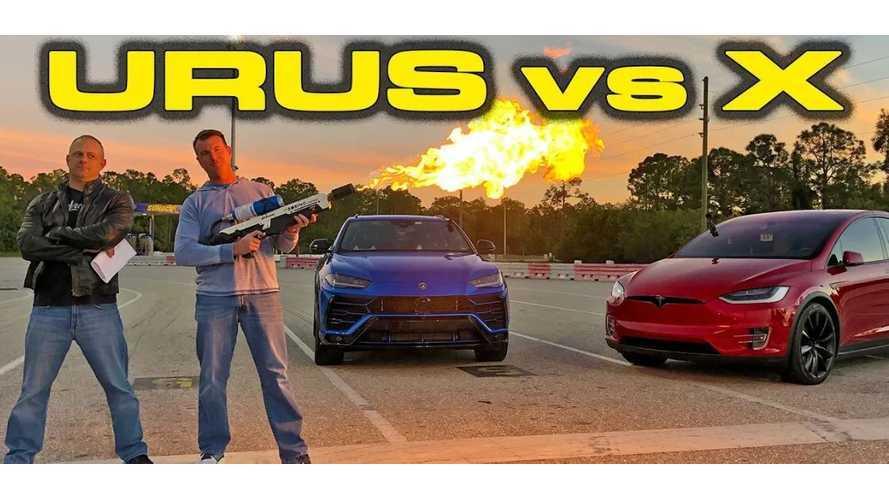Watch Tesla Model X P100D Race Lamborghini Urus