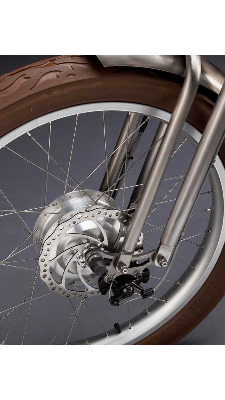 Front disk brake, along with what appears to be a 250 - 400W hub motor.