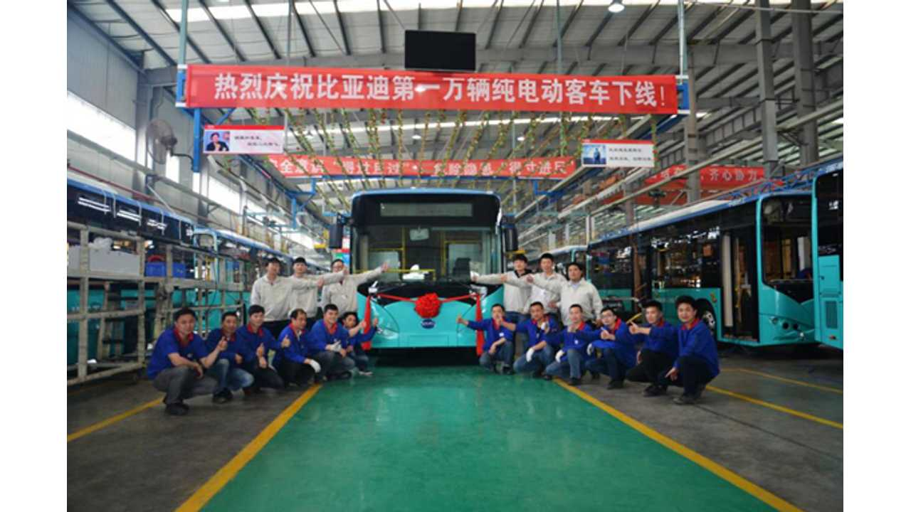 BYD Produced Its 10,000th Electric Bus, Next 10,000 Underway!