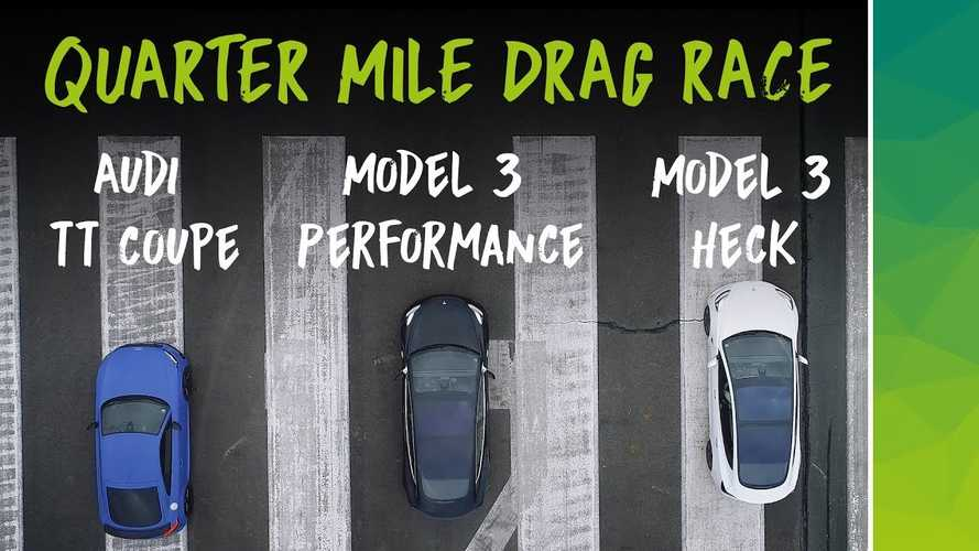 Watch Tesla Model 3 Performance Race Audi TT, RWD Model 3