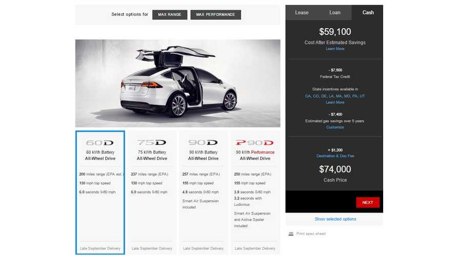 Tesla Model X 60 kWh Now Available - Starting Price Is $74,000