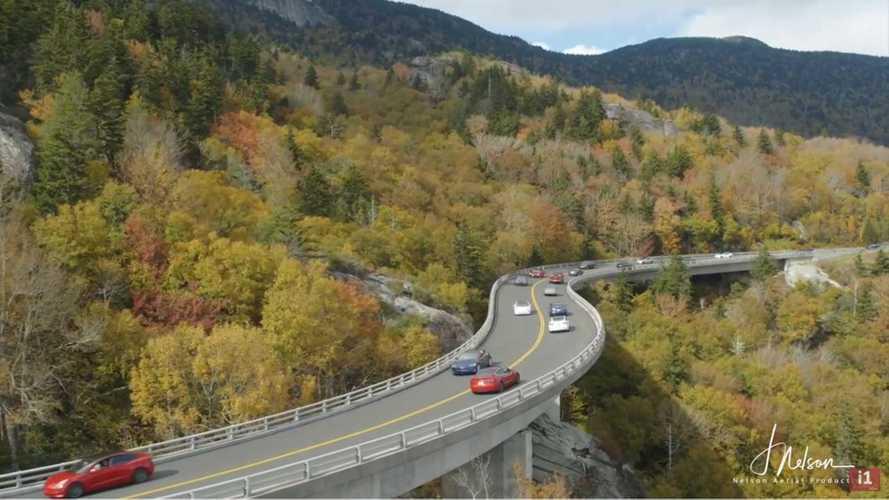 UPDATE: Massive Tesla Mountain Meet-Up And Drive Down Blue Ridge Parkway