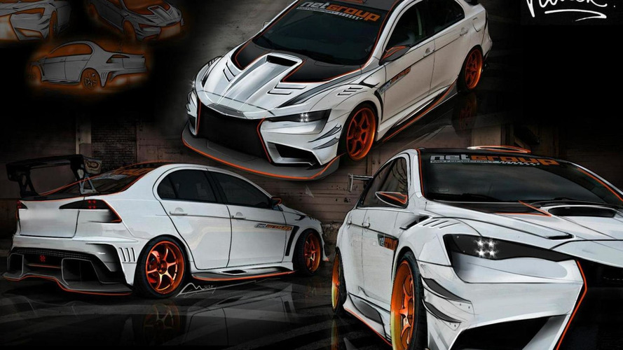Vilner working on heavily modified Mitsubishi EVO X