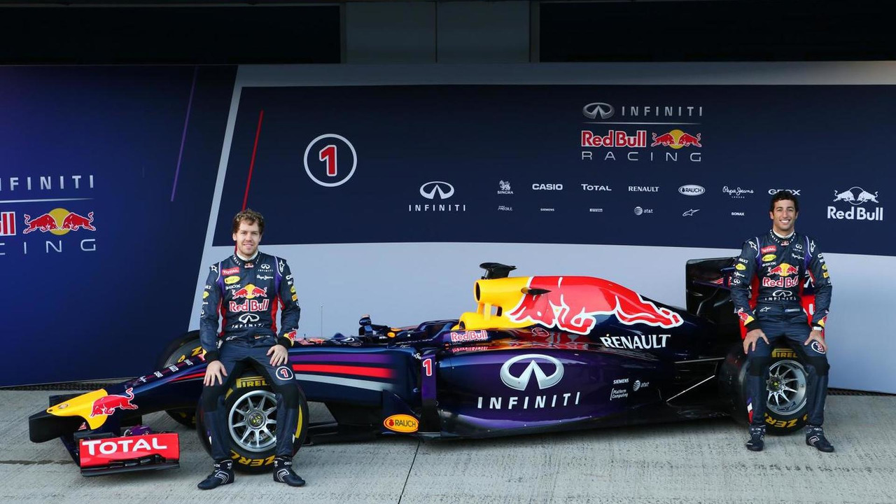 Sebastian Vettel and Daniel Ricciardo unveil Red Bull Racing RB10  Formula One Testing Jerez Spain