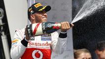Lewis Hamilton celebrates winning 2012 Hungarian Grand Prix
