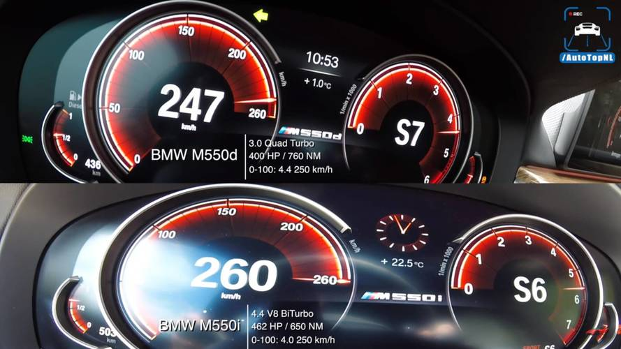 BMW M550i And M550d Acceleration Duel Up To 162 MPH