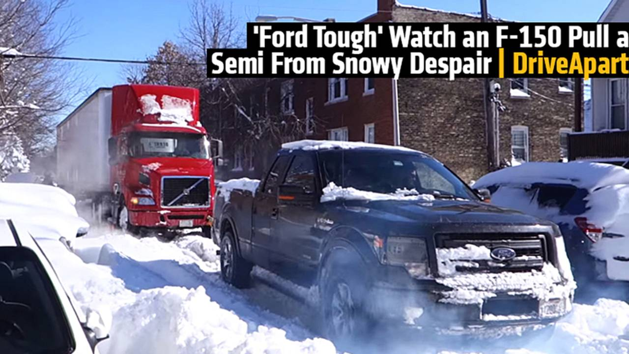 'Ford Tough' Watch an F-150 Pull a Semi From Snowy Despair
