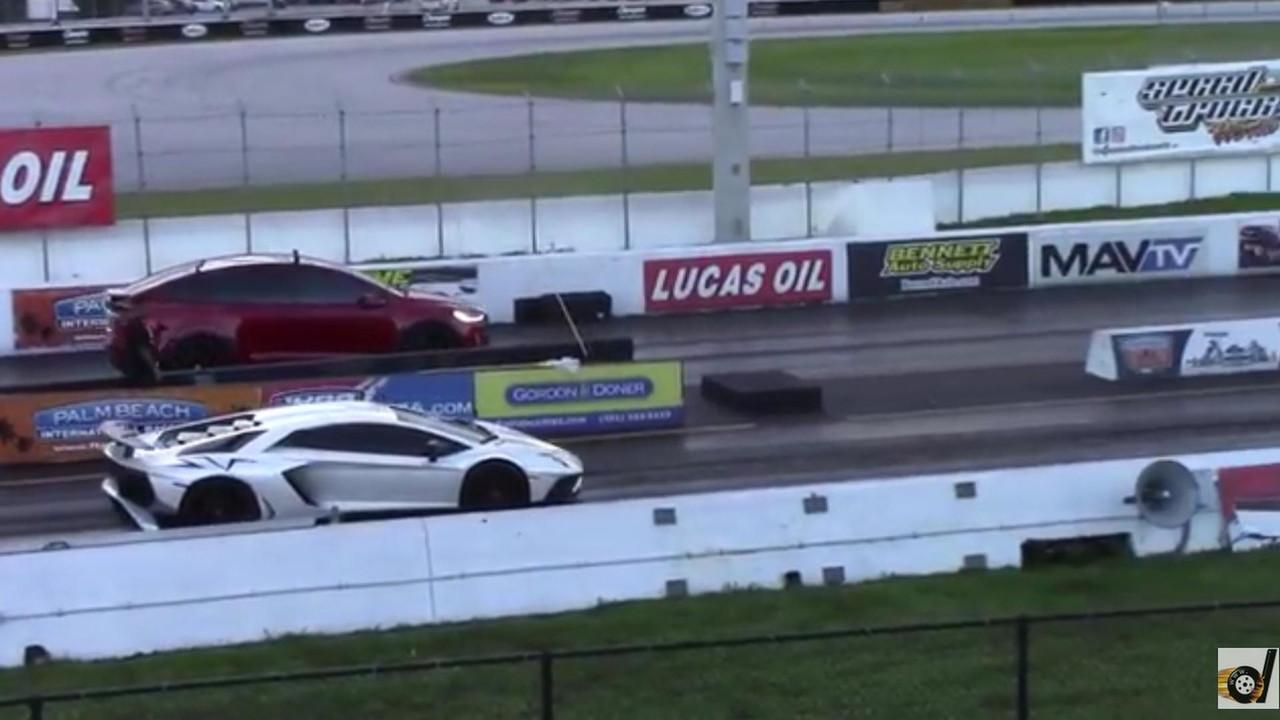 Model X vs. Aventador SV negyed mérföldön