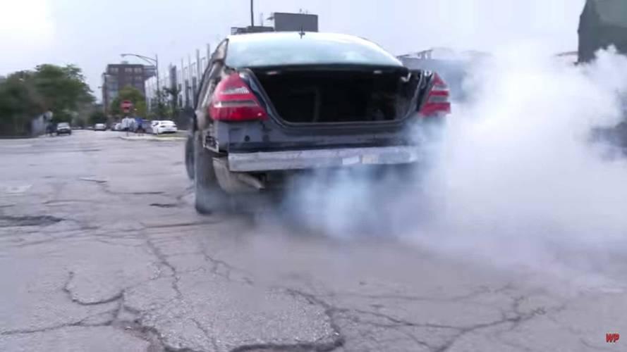 Mercedes-Benz E-Class Hitting Potholes