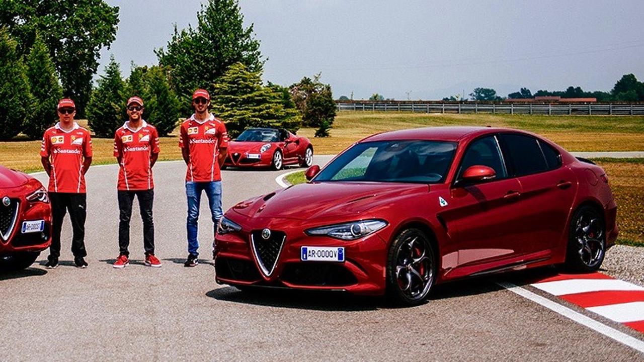 Ferrari drivers test Quadrifoglio
