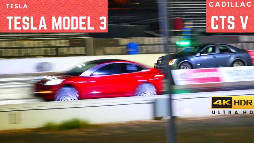 Watch A Tesla Model 3 Blow Away A Cadillac CTS-V: Race Video
