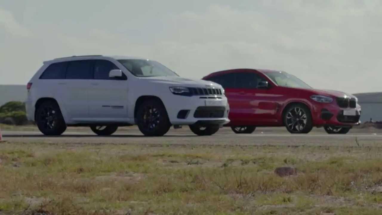 Jeep Grand Cherokee Trackhawk Drag Races BMW X4 M para un acabado sorprendente 1