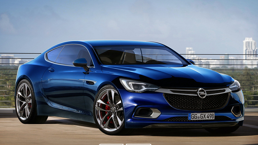 Render Opel Calibra moderno, del siglo XXI