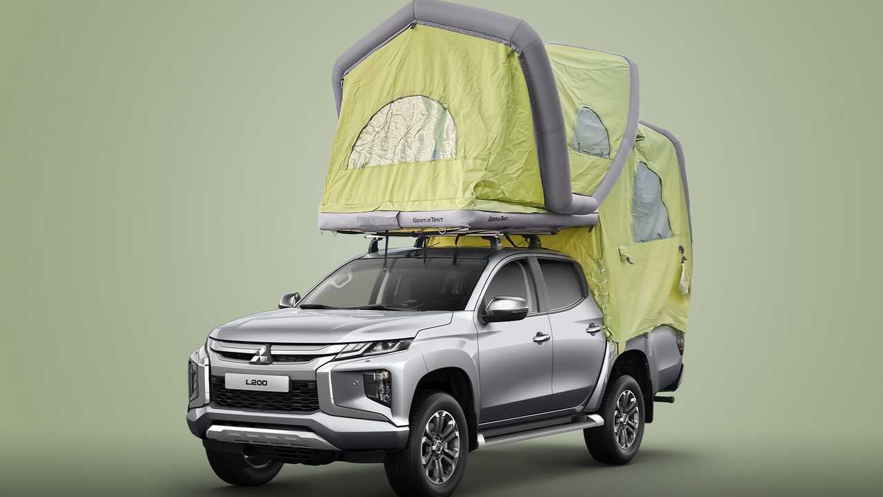 Mitsubishi L200 with inflatable cabover tent