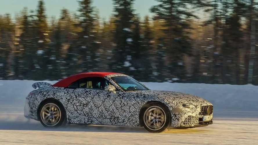 Mercedes-AMG SL (2021), le foto spia dei test sulla neve