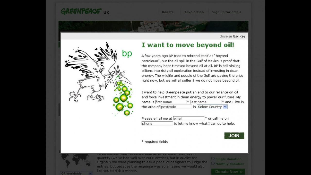 Sondaggio di Greenpeace sul logo della British Petroleum