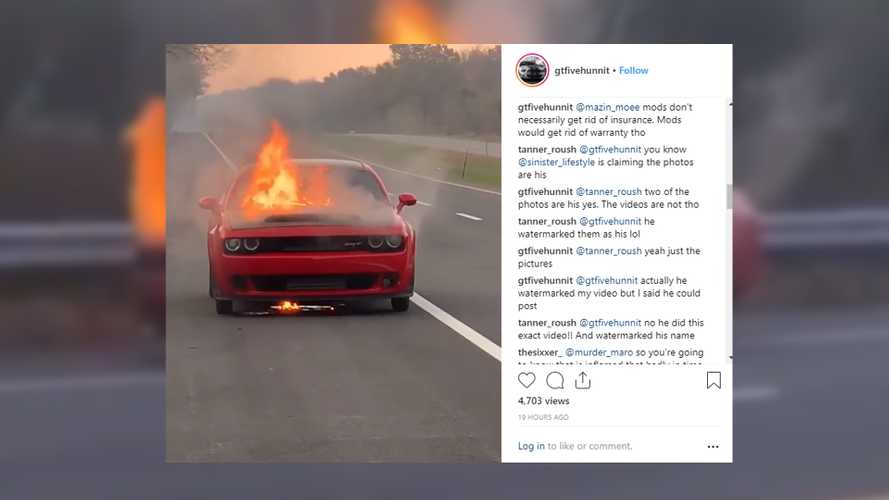 Dodge Demon catches fire, returns to hell from whence it came