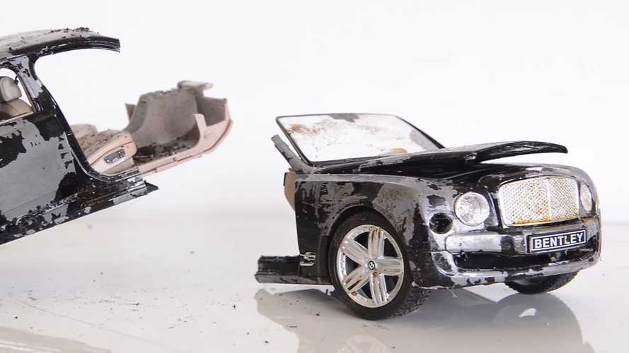 Watch a diecast Bentley Mulsanne model car split in two get restored