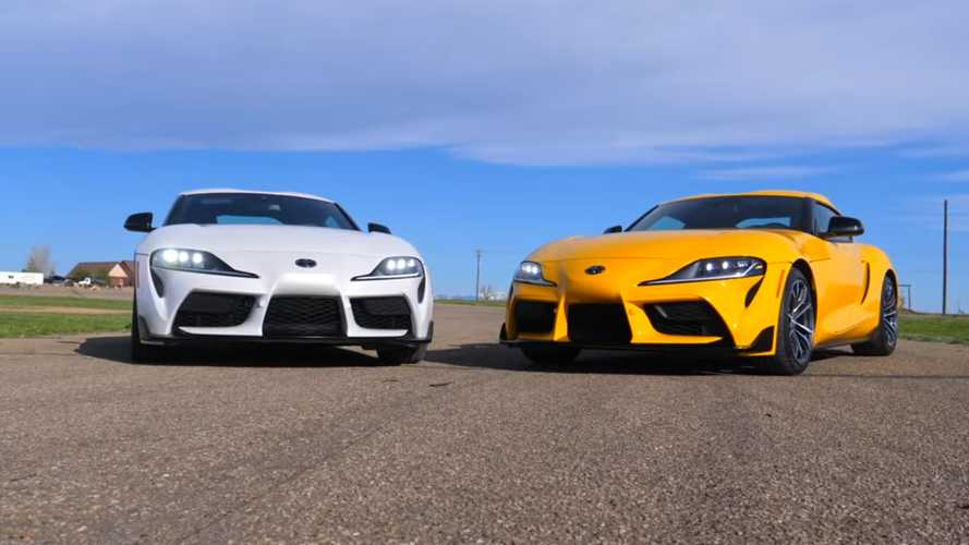 See Toyota Supra Six-Cylinder Drag Race Its Four-Cylinder Sibling