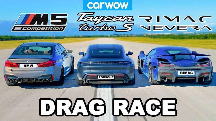 Rimac Nevera, Porsche Taycan Turbo S ve BMW M5 ile yarışıyor!