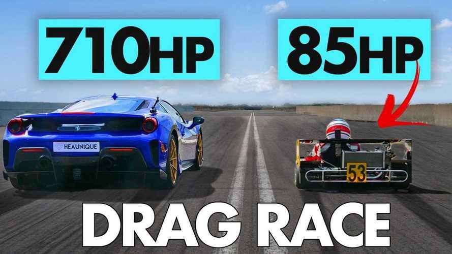 UK: Ferrari 488 Pista duels Superkart in drag and rolling races