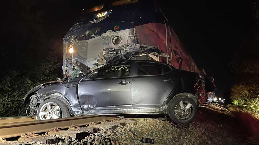 Amtrak Train Hits Car Hauler