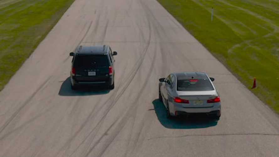 BMW M5 Competition Drag Races... Dodge Grand Caravan, S2000, Miata