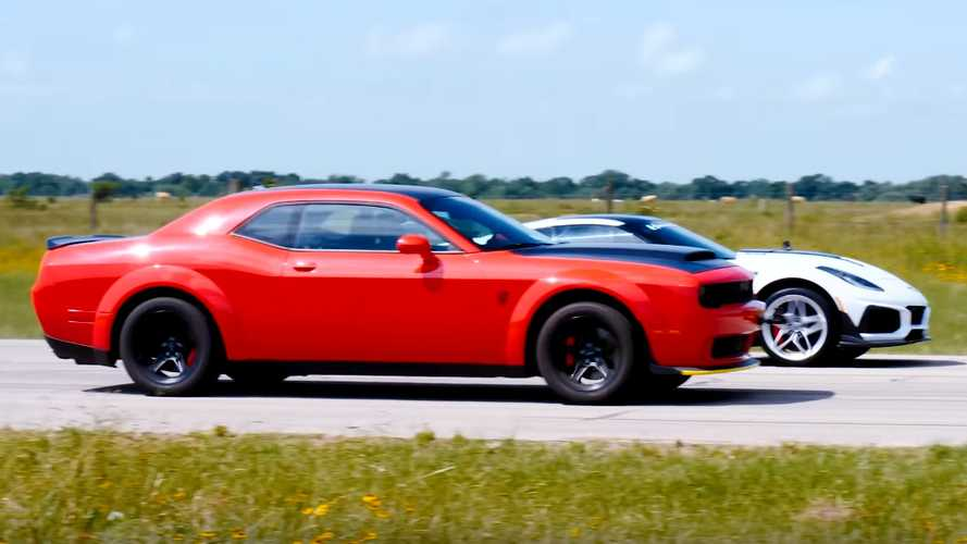 840-hp Demon Faces 1000-hp Hennessey ZR1 In Rolling Race