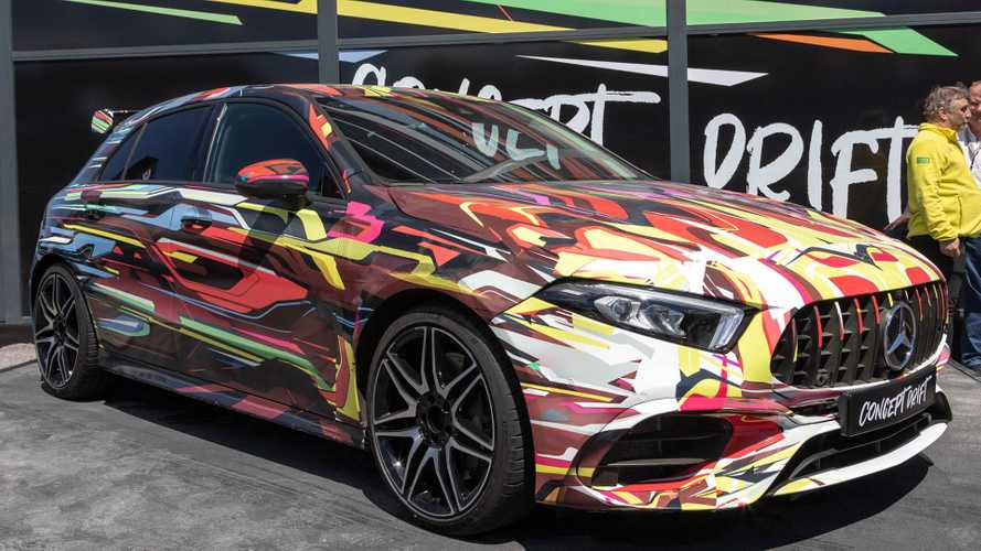 Colourful Mercedes-AMG A45 Concept Drift poses at the Nürburgring