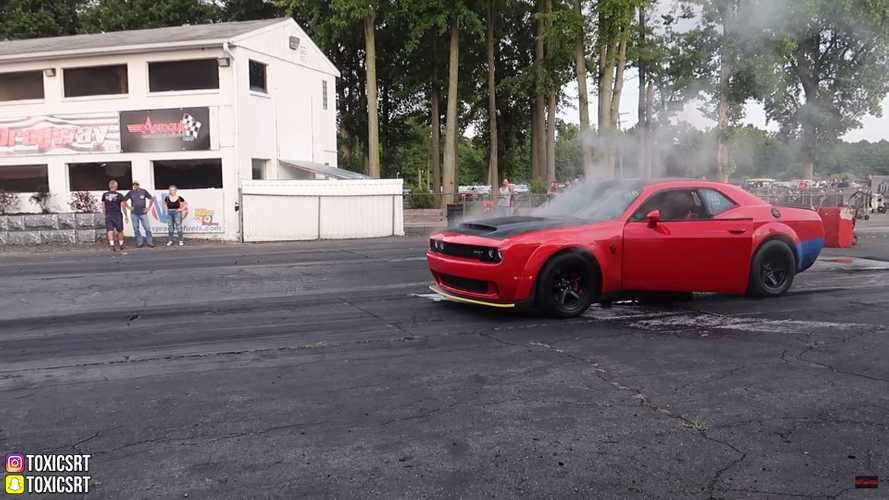 Dodge Challenger Demon Burns At Drag Strip