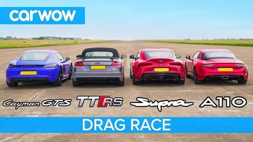 Toyota Supra 2019 vs. Alpine A110, Audi TT RS y Porsche 718 Cayman GTS