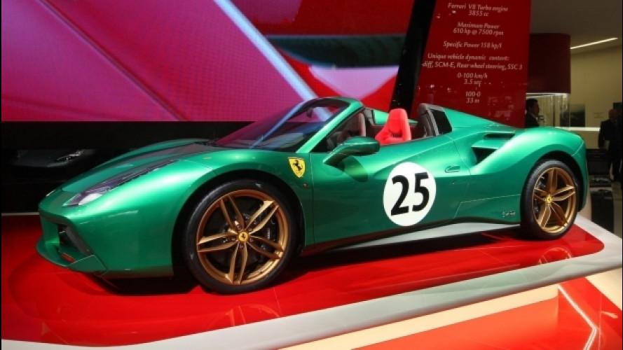 Salone di Parigi, la Ferrari 488 Spider verde è un tributo alle corse