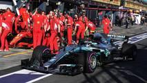 Valtteri Bottas, Mercedes-AMG F1 W09 passes Ferrari SF-71H