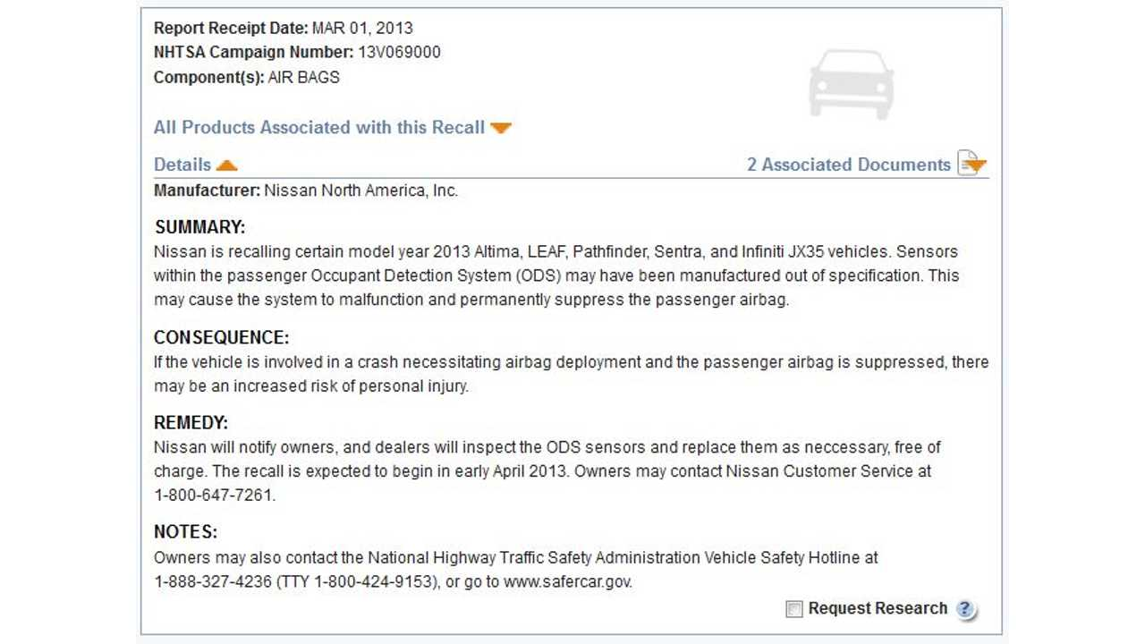2013 Nissan LEAF Recall Notice Issued by NHTSA
