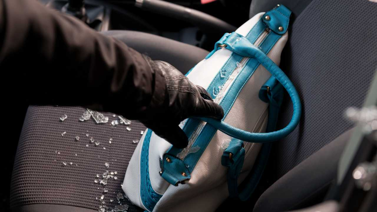 Car thief breaks car window to steal bag