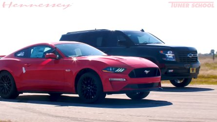 Watch Hennessey's 650 HP Tahoe Drag Race A Stock Mustang GT