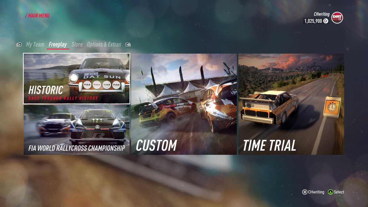 Dirt Rally 2 In-Game Menus